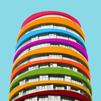 elliptical - Istanbul colorful facades modern architecture photography