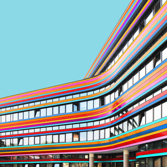 Rounded corner - Berlin colorful facades modern architecture photography