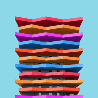 Layered - Linz colorful facades modern architecture photography