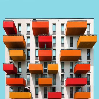 orange balconies- Vienna colorful facades modern architecture photography