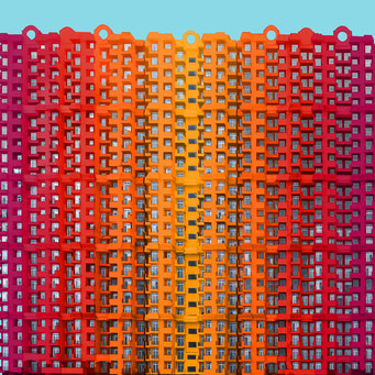 high density - Ghaziabad colorful facades modern architecture photography
