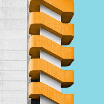 concrete staircase - milano  colorful facades modern architecture photography