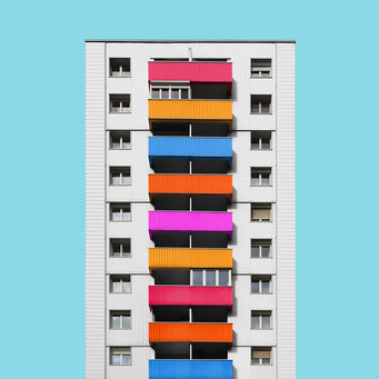 a simple box - Linz colorful facades modern architecture photography