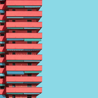 sunshades - milano  colorful facades modern architecture photography