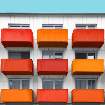 9 orange balconies - Linz colorful facades modern architecture photography