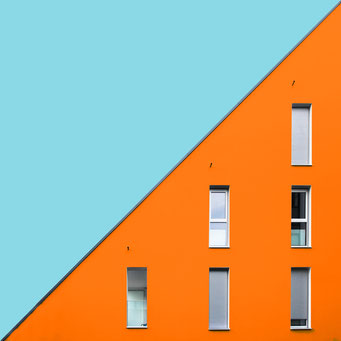 Diagonal - Leonding colorful facades modern architecture photography