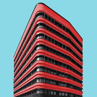 the red one - milano colorful facades modern architecture photography