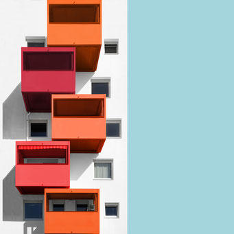 balcony boxes - linz  colorful facades modern architecture photography