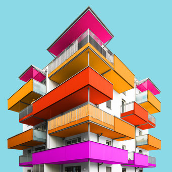 exploded cube - Linz colorful facades modern architecture photography