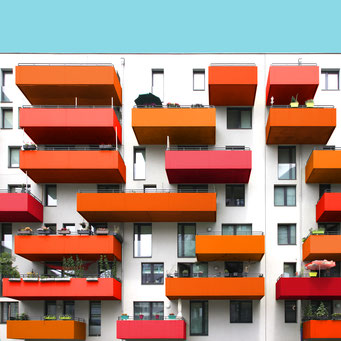 Shades of orange - Vienna colorful facades modern architecture photography
