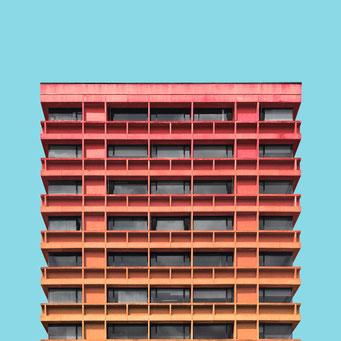 concrete facade - Bogotá colorful facades modern architecture photography