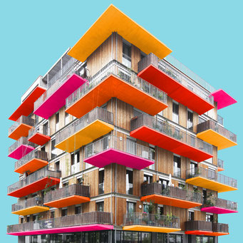 Block of wood - Vienna colorful facades modern architecture photography