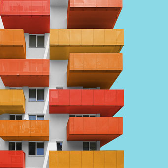 Shaded in orange - Vienna colorful facades modern architecture photography