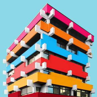 concrete hedgehog - Eisenstadt colorful facades modern architecture photography