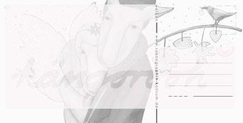 """Postkarte """"weihnachtsmann & engelin"""" / Detail 2 /kängorooh/ 2016"""