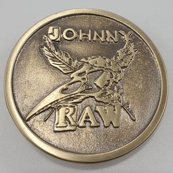"""Gürtelschnalle aus massivem Messing nach Logo von """"Johnny Raw Band Support"""". Individuell angefertigt nach Kundenwunsch. - nachguss.de"""