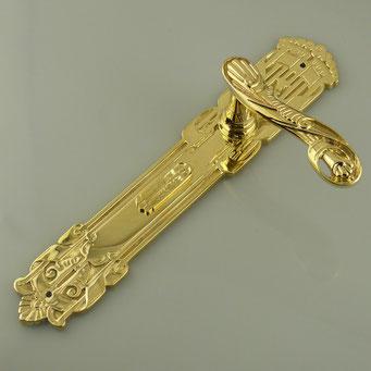 Nachguss historische Drückergarnitur mit Schlüssellochklappen nach Muster des Kunden, Messing poliert - nachguss.de
