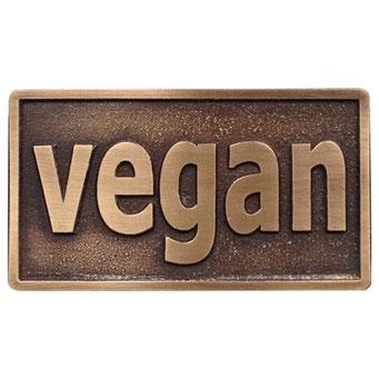 """Gürtelschnalle """"vegan"""" aus massiv Messing, Oberfläche patiniert von nachguss.de"""