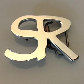 Entwurf und Anfertigung von Gürtelschnalle nach Kundenwunsch (Einzelstück). Gefertigt aus Aluminium, die Oberfläche wurde poliert - nachguss.de