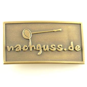 Custom made beltbuckle, massive brass, surface patinated. - nachguss.de