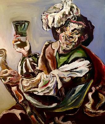 Termoclino Brugghen (suonatore di violino con un bicchiere di vino) oil on canvas cm 86x101, 2018