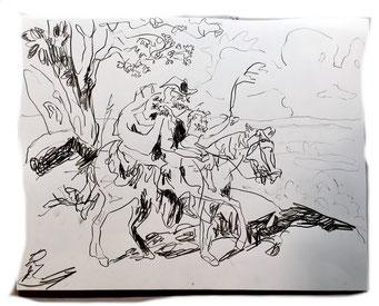 Termoclino Pinelli (famiglia ciociara a cavallo), graphite on paper cm 42x31, 2018