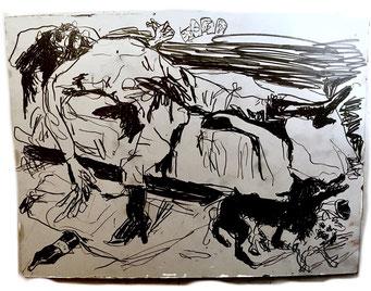 Termoclino Otto Dix (omicidio con stupro) graphite on paper cm 27,5x34,6,2018