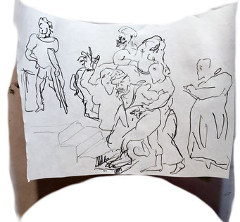 Termoclino Géricault (esecuzione capitale a Roma) Graphite and marker on paper cm 25,7x37,4, 2018