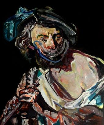 Termoclino Baburen (man with flute), oil on canvas cm 62x74, 2017