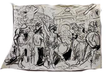 Termoclino Pinelli, (Uomo che canta le istorie la Domenica ai lavoratori di campagna sulla piazza Barberini in Roma), graphite on paper cm 50x33, 2018,