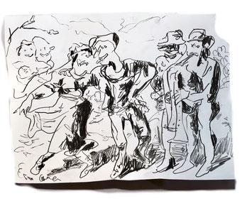 Termoclino Pinelli (ballo di sposi ciociari) graphite on paper cm 23x35, 2018