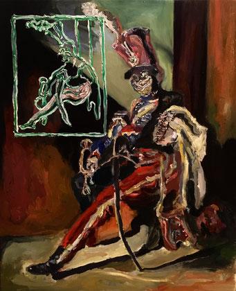 Termoclino Géricault (trombettiere degli ussari seduto) oil on canvas cm 38x46, 2017