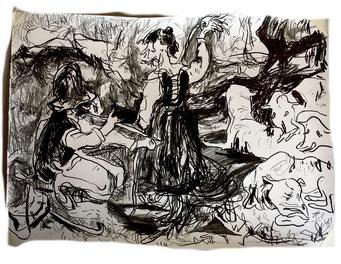 Termoclino Coleman (Contadinelli con pecore), graphite on paper cm 42x30, 2018
