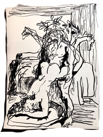 Termoclino Pinelli (incisione erotica da Giulio Romano) grapite on paper cm 21,8x16,2, 2018