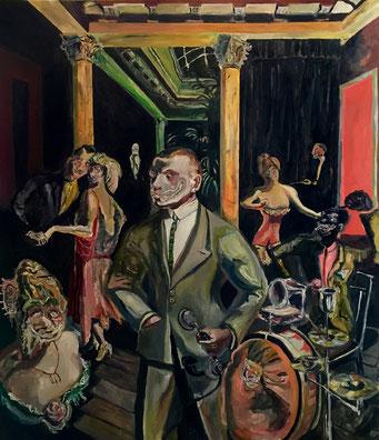 Termoclino Otto Dix, (Alla bellezza) oil on canvas cm 122x140, 2017