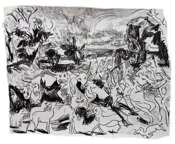 Termoclino Coleman (Mandria della campagna condotta a Roma), grafite su carta cm 46x39, 2018