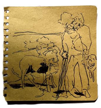 Termoclino Primoli (pastore con pecore) graphite and marker on paper cm 18,5x18,5, 2018