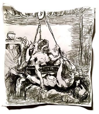 Termoclino Pinelli (incisione erotica da Giulio Romano) graphite on paper cm 25,5 x 23, 2018