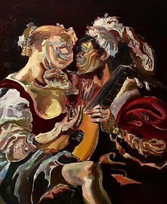 Termoclino Brugghen (Un suonatore di liuto che fa baldoria con una giovane donna che tiene un Roemer) oil on canvas cm 86,4x105,5