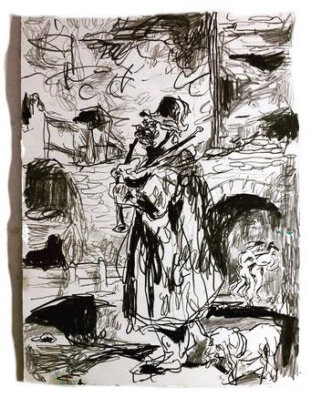 Termoclino Géricault (Il suonatore di cornamusa), graphite on paper 31,4x23,2,2018