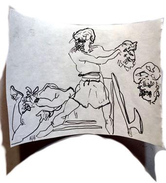 Termoclino Géricault (esecuzione capitale a Roma) graphite on paper cm 15,5x23,9, 2018