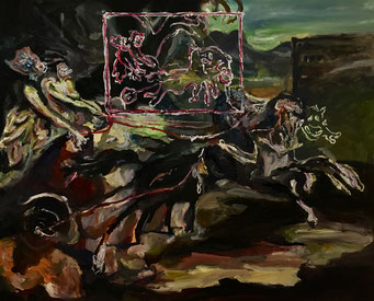 Termoclino Géricault (Carro antico da Carle Vernet) oil on canvas cm 79x64, 2017