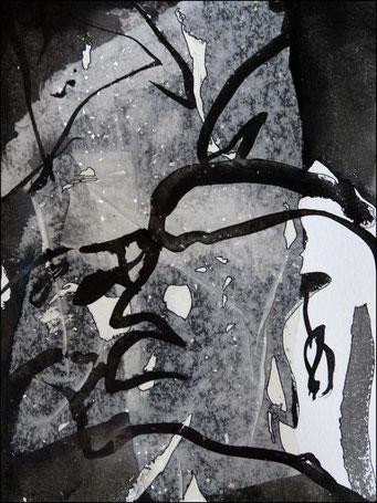 7. encre de chine et collage sur papier, 30 x 40 cm.