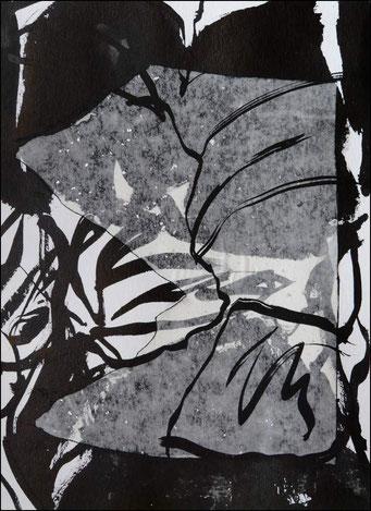 8. encre de chine et collage sur papier, 30 x 40 cm.