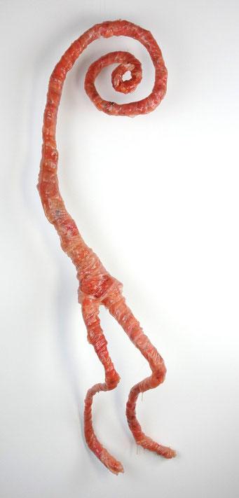 Ungeborenes I, 2014, Silikon, Baumwollstoff, Seide, Draht, Pigmente, u.a.  ca. 85 x 30 cm