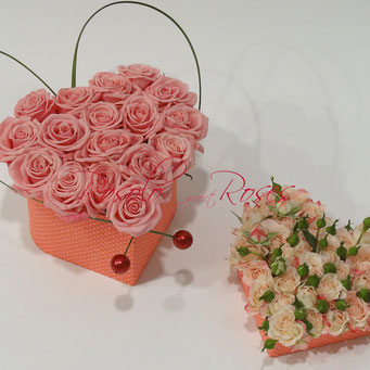 Mon coeur - belles roses roses dans une jolie boite