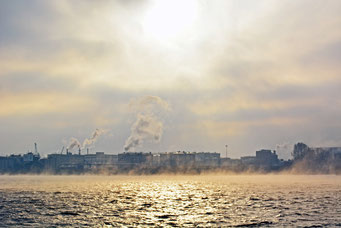 "Blick über die ""dampfende"" Elbe am 25.01.2014"