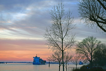 Winterabend an der Elbe