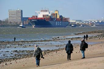 Winter im Hamburger Hafen, Niedrigwasser in der Elbe