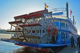 Winter im Hamburger Hafen, hier am Schaufelrad der LOUISIANA*STAR